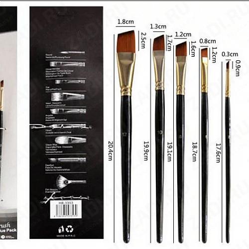 Набор плоских кистей для акриловых/масленых  красок 5 шт арт.А603749-3