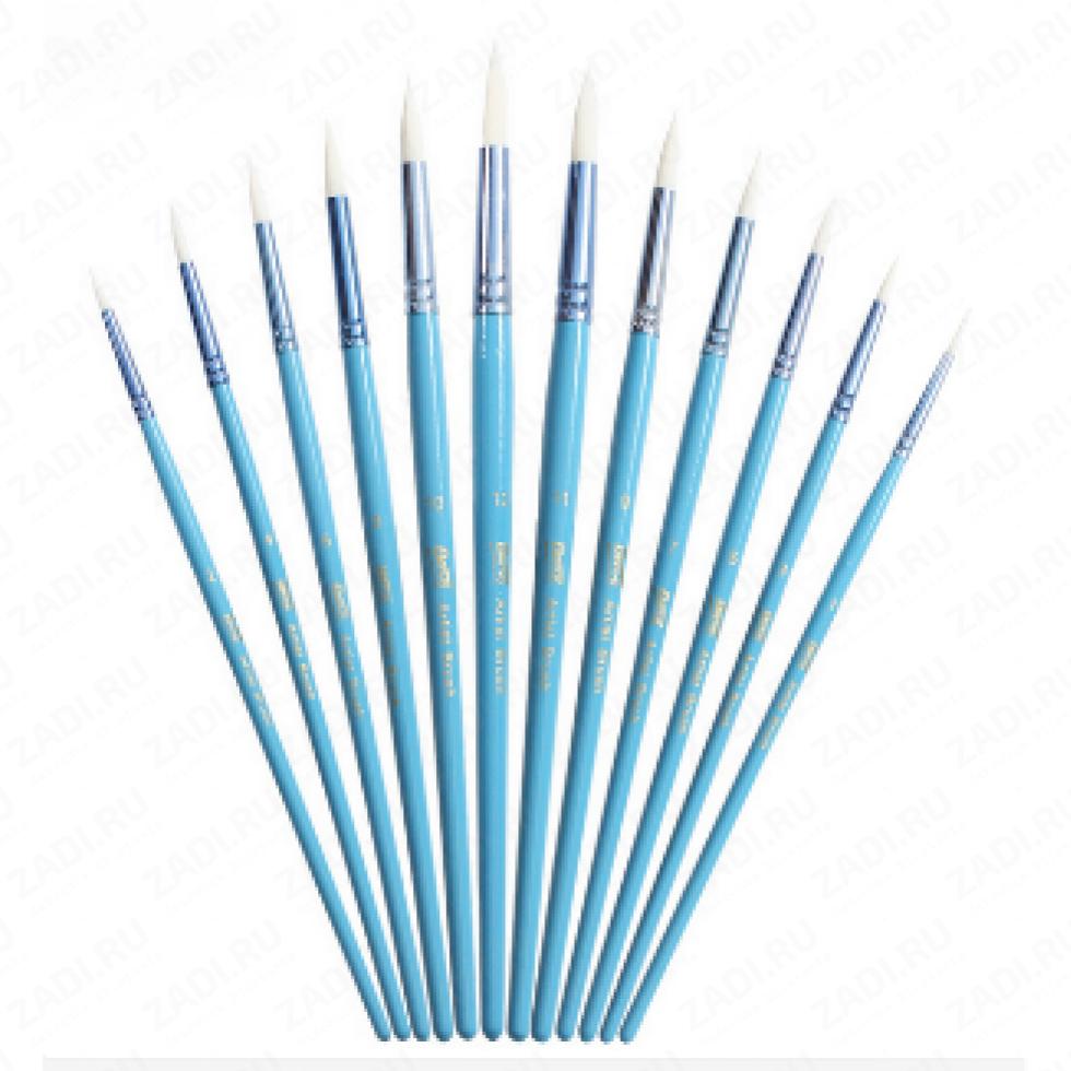 Набор круглых кистей для акриловых/масленых красок 12 шт арт 7009А