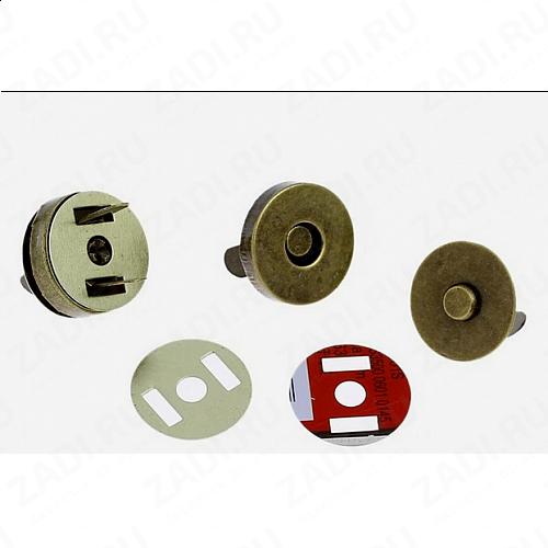 Кнопки магнитные металл  (античная бронза)  14мм  арт.879  1 шт