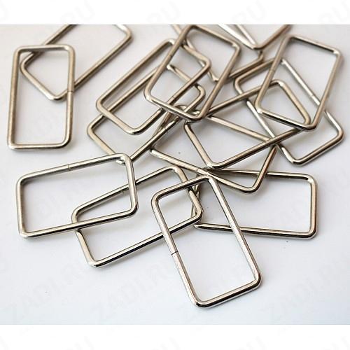 """Упаковка фурнитуры """"Рамка прямоугольник"""" 40х20мм 2мм  (никель) 95 шт IKF614/100"""