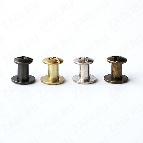 Заклёпка резьбовая, кобурная  (цвета: чёрный никель, никель, латунь,антик) 5мм 1шт IKF66