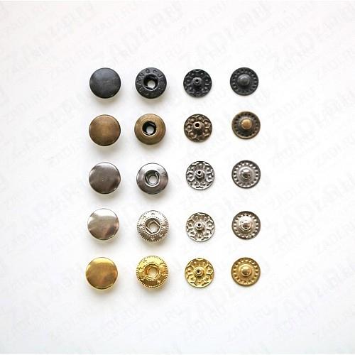 Набор кнопок Alfa металл 15мм (оксид, антик, никель, золото) 10шт