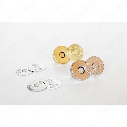 Кнопки магнитные металл  (гладкие) никель,золото 18мм MKM-02 1 шт