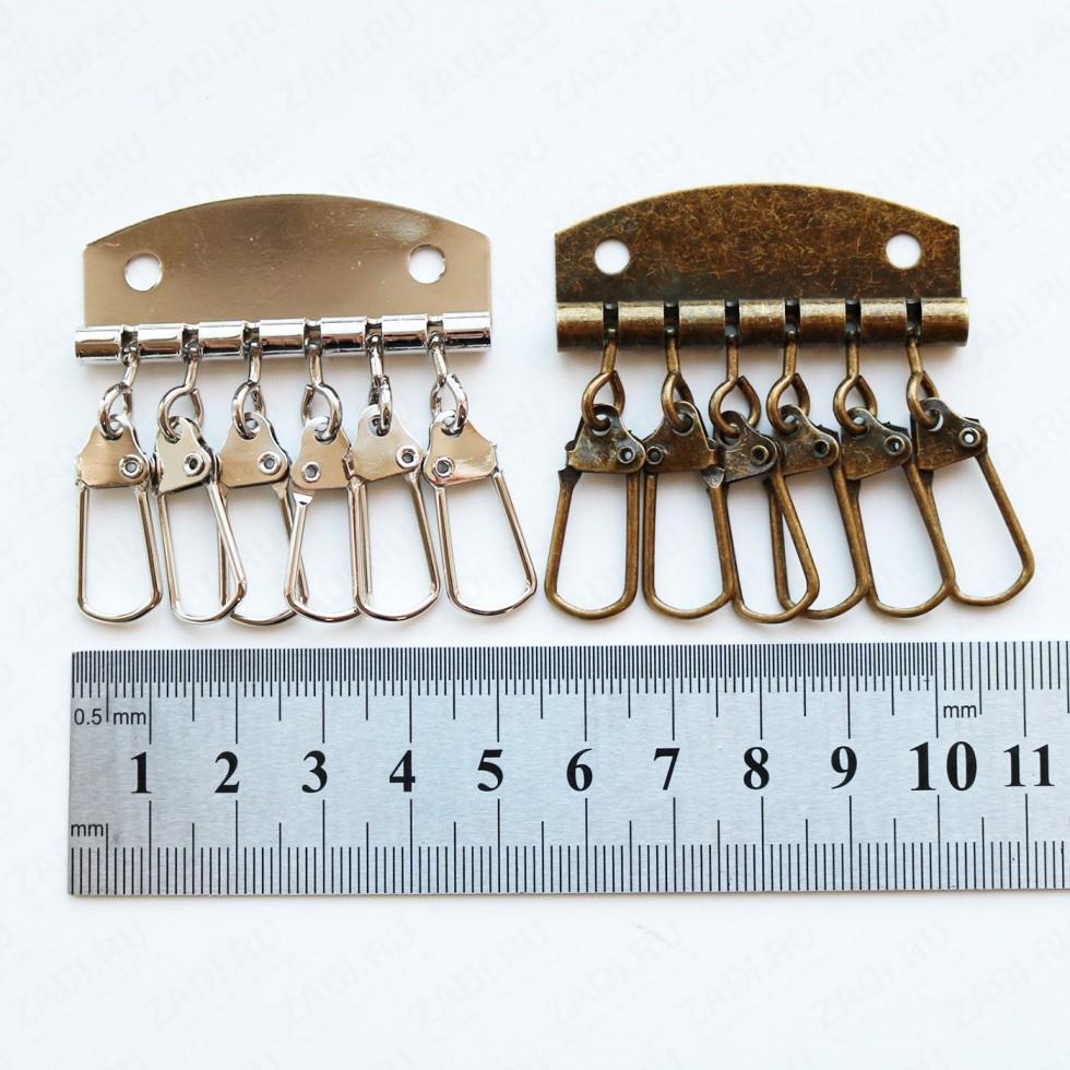 Фурнитура для ключниц (никель,антик) на 6 пр.FUR1223