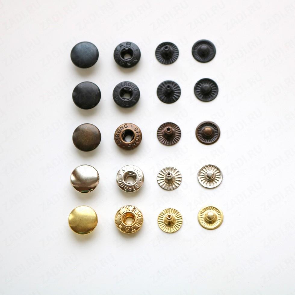 Набор кнопок Alfa  металл 12.5мм (оксид, антик, никель,золото) 10шт