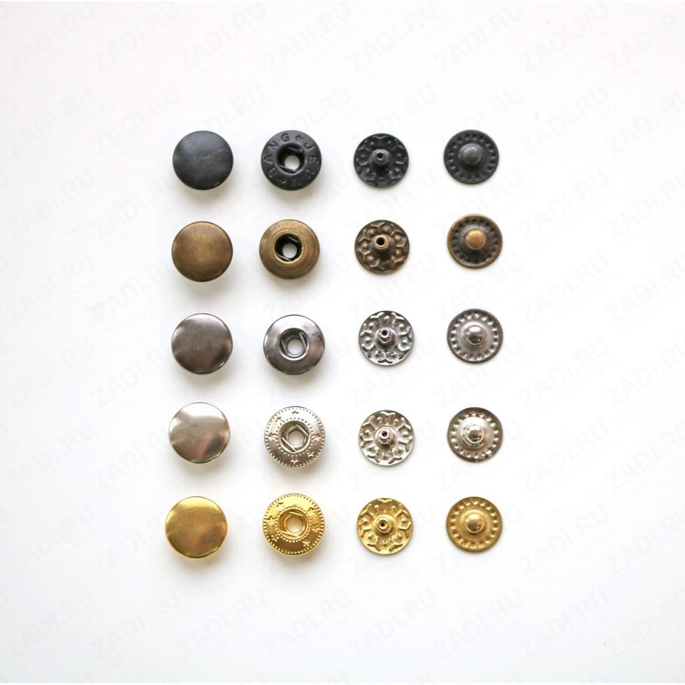 Набор кнопок Alfa металл 10мм (оксид, антик, черный никель,никель,золото) 10шт