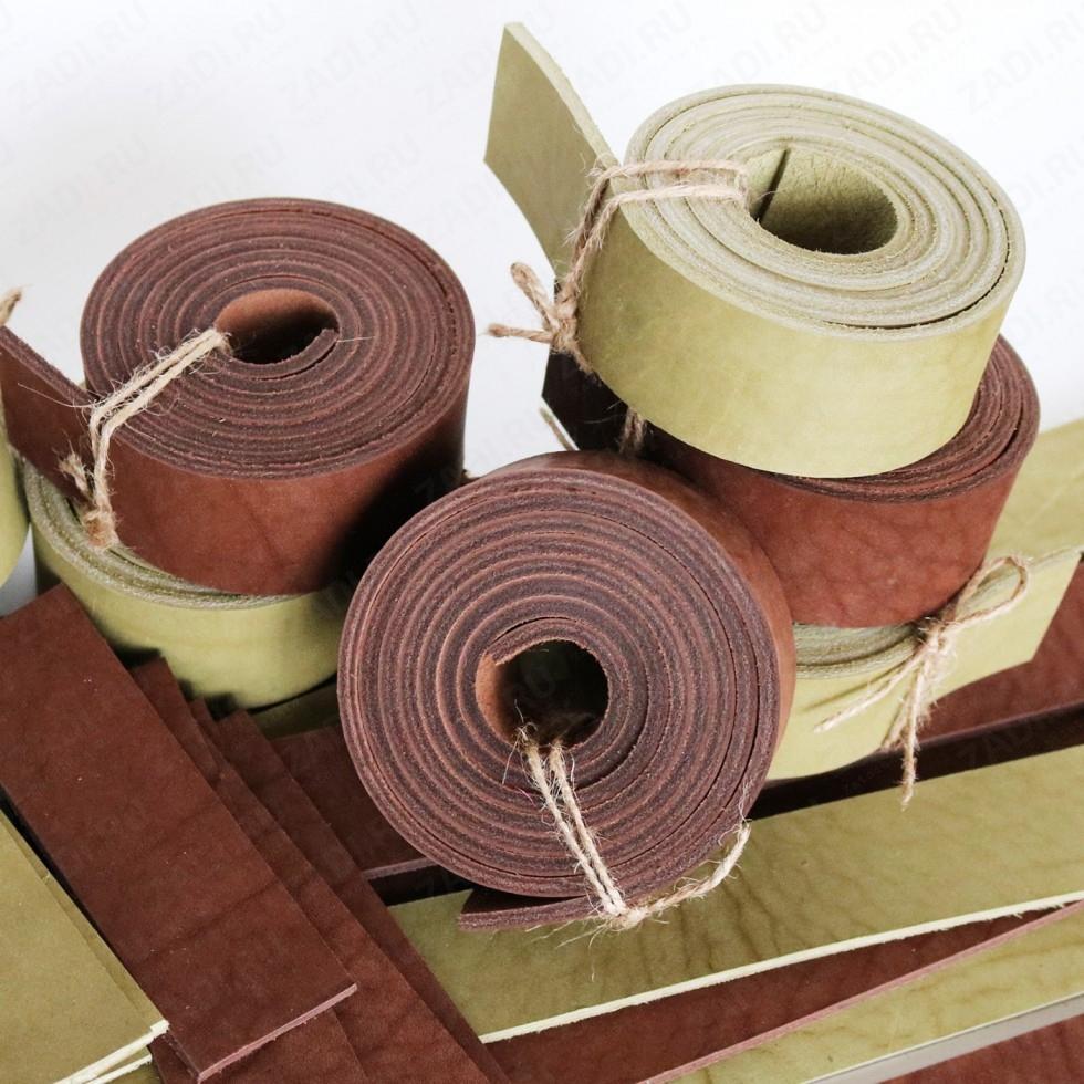 Заготовка для ремня (цвета: коричневый; оливковый) +ТРЕНЧИК 3,6-4мм арт. 0781