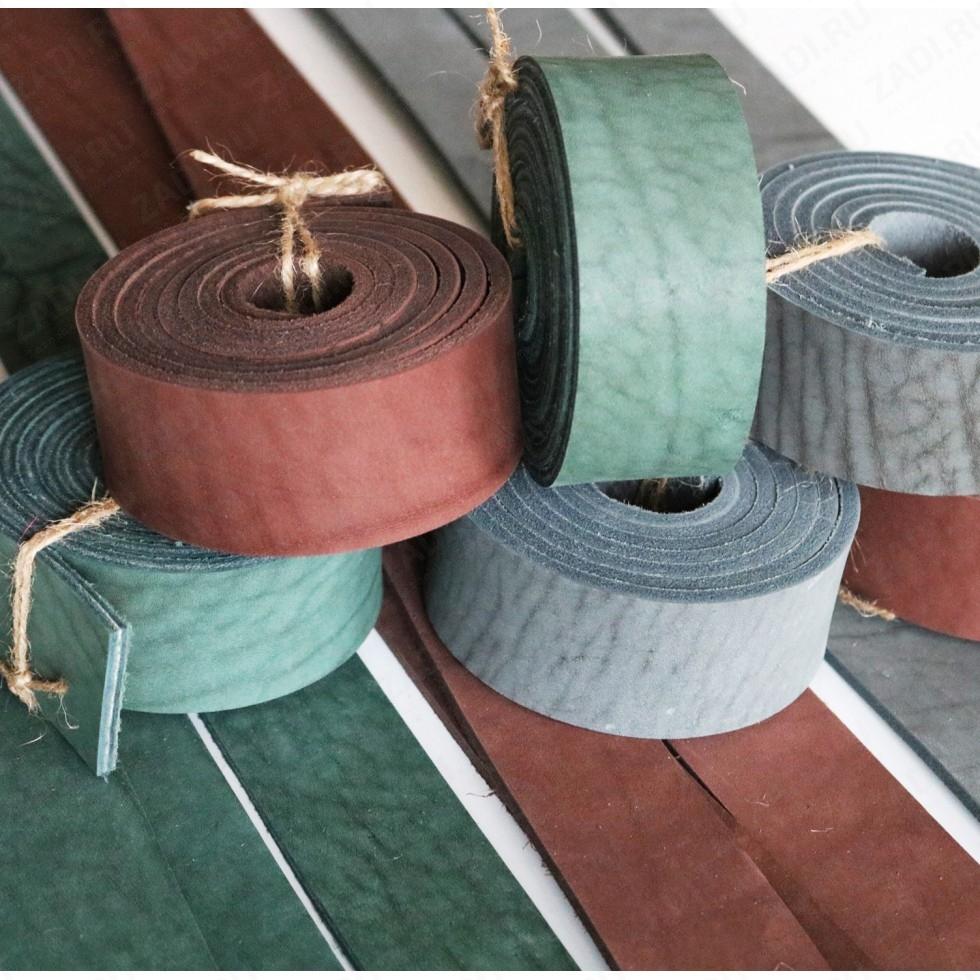 Заготовка для ремня (цвета:зелёный; коричневый; серый) + ТРЕНЧИК  4-4,6 мм арт. 0217