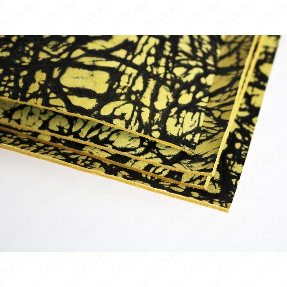 Кожа КРС галантерейная (чёрно-желтая) 1.8- 2мм арт. 1817