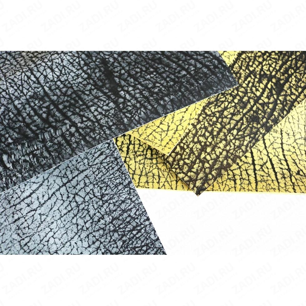 Кожа КРС галантерейная ( чёрно-серая и чёрно-желтая)  1.8- 2.2мм арт. 1816