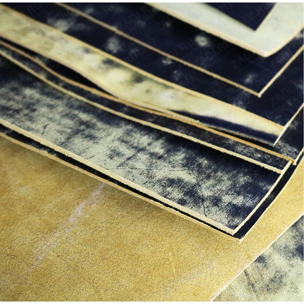 Кожа Юфть (чёрно-жёлтая) Винтаж 2-2,2мм арт.128