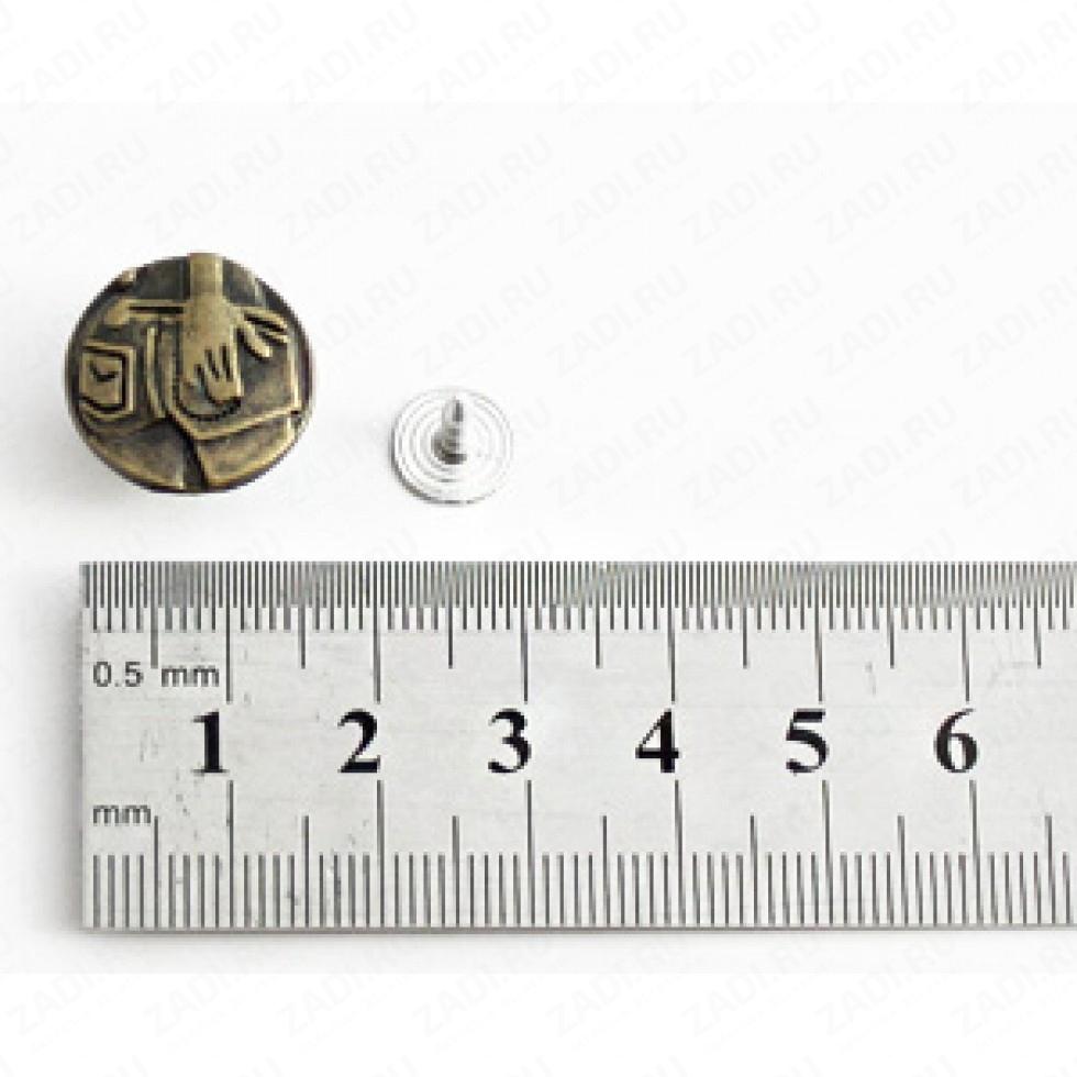 Пуговицы джинсовые 16мм P007/брон