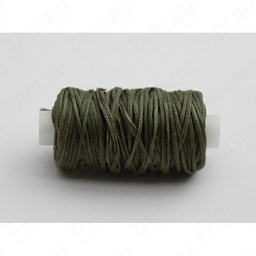 Нить плетёная вощёная 25м (тёмно зелёный) 1мм.Ivan LeatherCraft   NIP1010